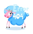 Cute cartoon blue sheep for 404 error page vector image