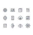 development engineering settings line icons set vector image