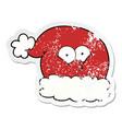 distressed sticker of a cartoon christmas santa vector image vector image