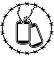 dog tags and barbed wire second variant vector image vector image