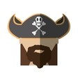 face pirate bearded hat skull bone long hair vector image