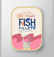 fish fillets aluminium container with label cover vector image vector image