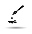 Fountain pen with blot icon vector image