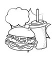 hamburger and soda black and white vector image