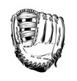 hand drawn sketch of baseball glove in black vector image