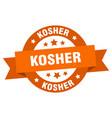 kosher ribbon kosher round orange sign kosher vector image vector image