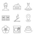 massagist icons set outline style vector image vector image