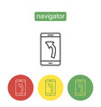 mobile navigator outline icons set vector image