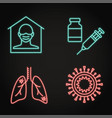 neon coronavirus infection icon set in line style vector image