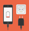 phone with charger adapter vector image
