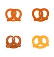 pretzel oktober fest icons set flat style vector image vector image