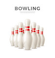 realistic bowling skittle pins 3d icon vector image