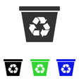 recycle bin flat icon vector image vector image