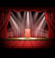 red curtain and theatrical stage with red vintage vector image vector image