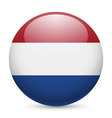 Round glossy icon of netherlands vector image vector image