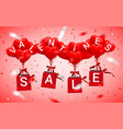 sale happy valentines day background red balloon vector image vector image