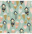 Seamless pattern with bohemian feathers vector image vector image