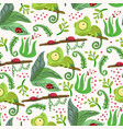 seamless pattern with chameleon forest pattern vector image vector image
