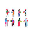 set mix race people giving present each other vector image vector image