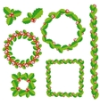 Set of Christmas wreath frames and borders vector image