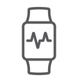 smart watch line icon electronic and digital vector image vector image