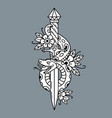 tattoo dagger with snake old school vector image