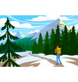 traveler walk in mountain vector image vector image