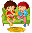 two boys eating popcorn on sofa vector image vector image