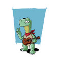 ukulele playing turtle vector image
