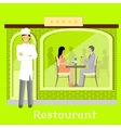 Urban Restaurant Facade with Customers vector image