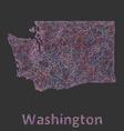 Washington line art map vector image vector image