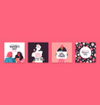 womens day set hand drawn women holiday card vector image