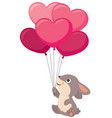 cute little rabbit holding heart shaped balloons vector image