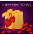 Happy Valentine s Day card with present hearts vector image
