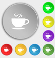 The tea and cup icon sign Symbol on eight flat vector image