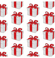 gift pattern red ribbon with bow on grey vector image