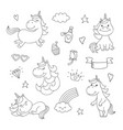 magical doodles with unicorn clouds cupcake vector image
