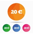 20 Euro sign icon EUR currency symbol vector image vector image