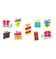big collections colorful gifts box gift icons in vector image