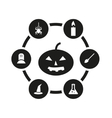 black halloween icon set vector image vector image