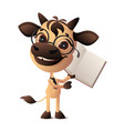 bull symbol 2021 holding an open book funny vector image vector image