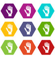 caring hand icons set 9 vector image