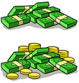cartoon money stack piles cash and coins vector image