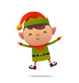 cheerful cartoon cute christmas elf jumps vector image vector image