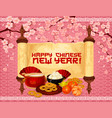 chinese new year banner of asian holiday symbols vector image vector image