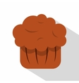 Chocolate muffin icon flat style vector image vector image