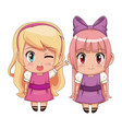 colorful full body couple cute anime girl facial vector image vector image