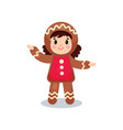 cute little girl in the costume of gingerbread vector image vector image
