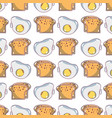 delicious slice breads and fried egg background vector image vector image