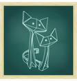 Drawing of cute origami cats in love vector image vector image